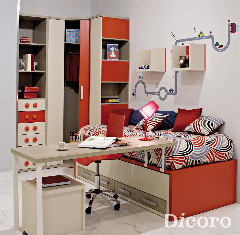 el rojo es un color que pocas veces tenemos en cuenta a la hora de decorar juveniles quizs por miedo al resultado debido a que se trata de