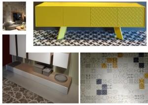 Suelos y paredes con mosaicos hidráulicos.