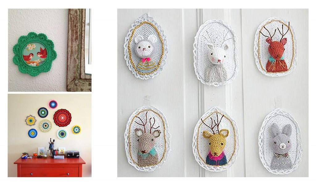 10 propuestas para decorar tu casa con crochet - Composicion marcos pared ...