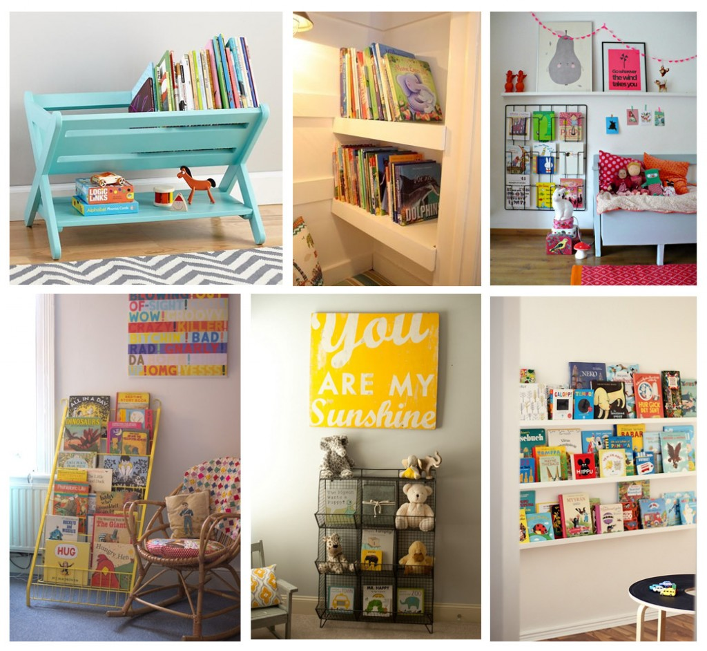 Revistero azul visto en Pinterest, rincón con estantes y libros visto en Baby center, estructura de alambre a pared vista en Pinterest, estructura alambre amarillo vista en Seds and stitches, cestas metálicas vistas en Chic home baby y estantes finos vistos en Pinterest.