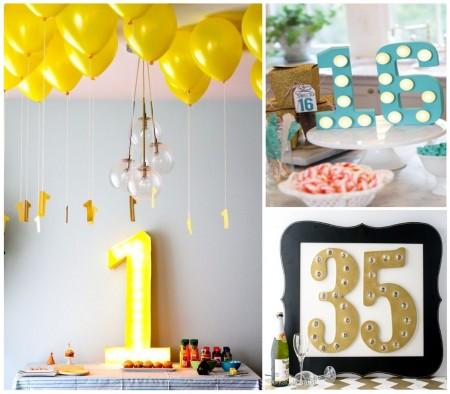 Decoraciones luminosas: cumpleaños