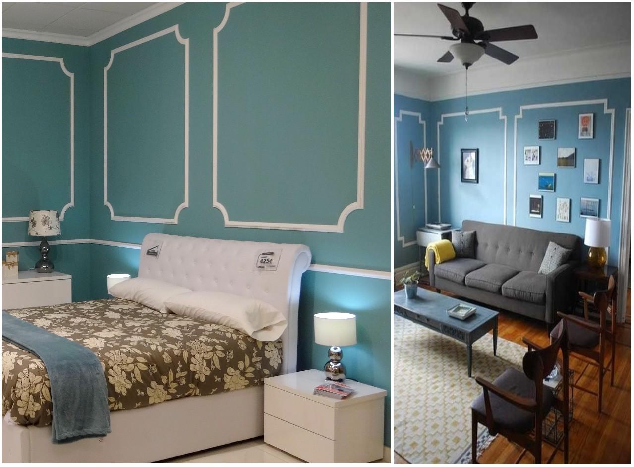 Ideas para decorar con molduras en paredes - Color azul verdoso para paredes ...