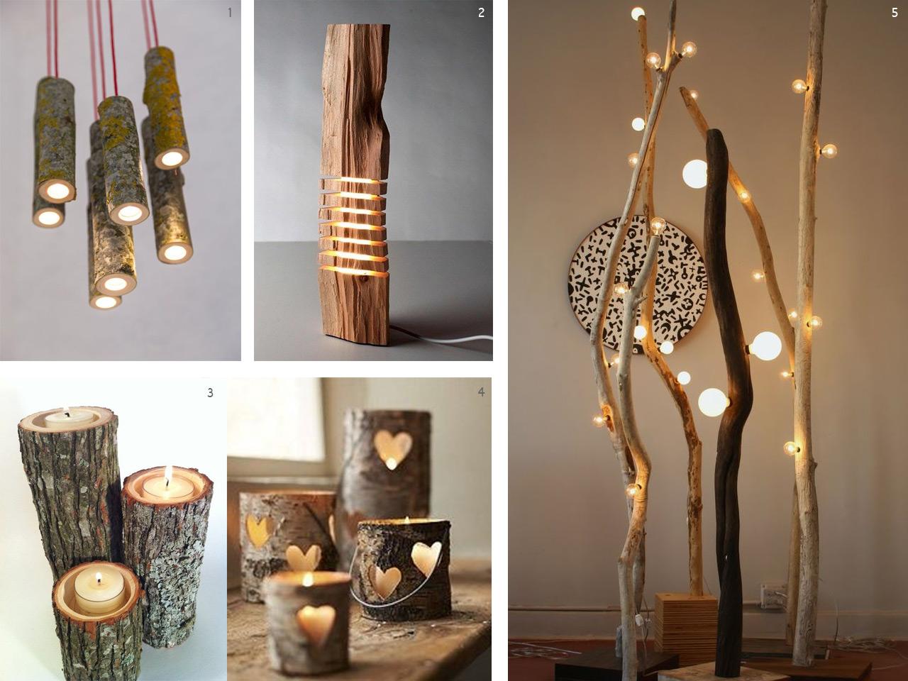 El bosque en casa ramas troncos y manualidades en madera - Troncos de madera para decorar ...