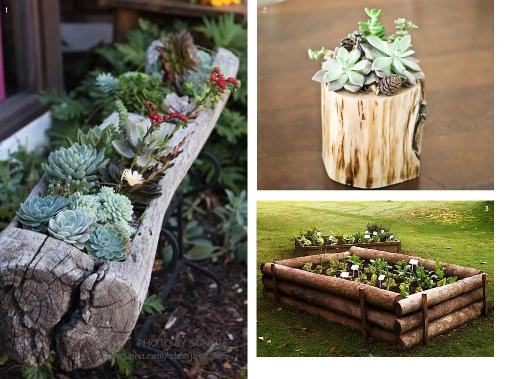 El bosque en casa ramas troncos y manualidades en madera - Tiestos de madera ...
