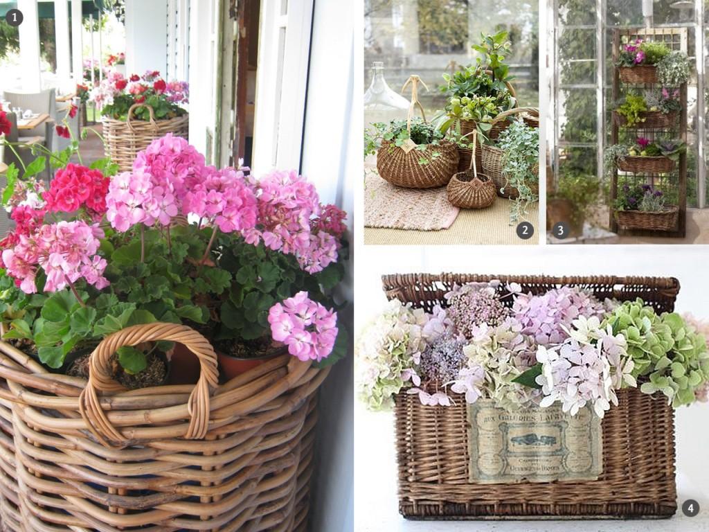 Vuelven las cestas de mimbre y los muebles de rattan - Como decorar una cesta de mimbre ...