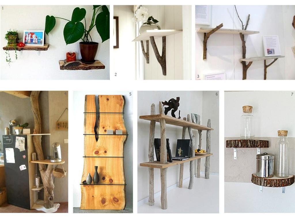 El bosque en casa ramas troncos y manualidades en madera - Estanterias rusticas de madera ...