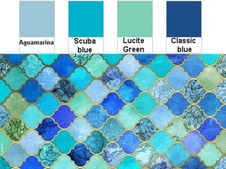 Decoración en color azul: pantone