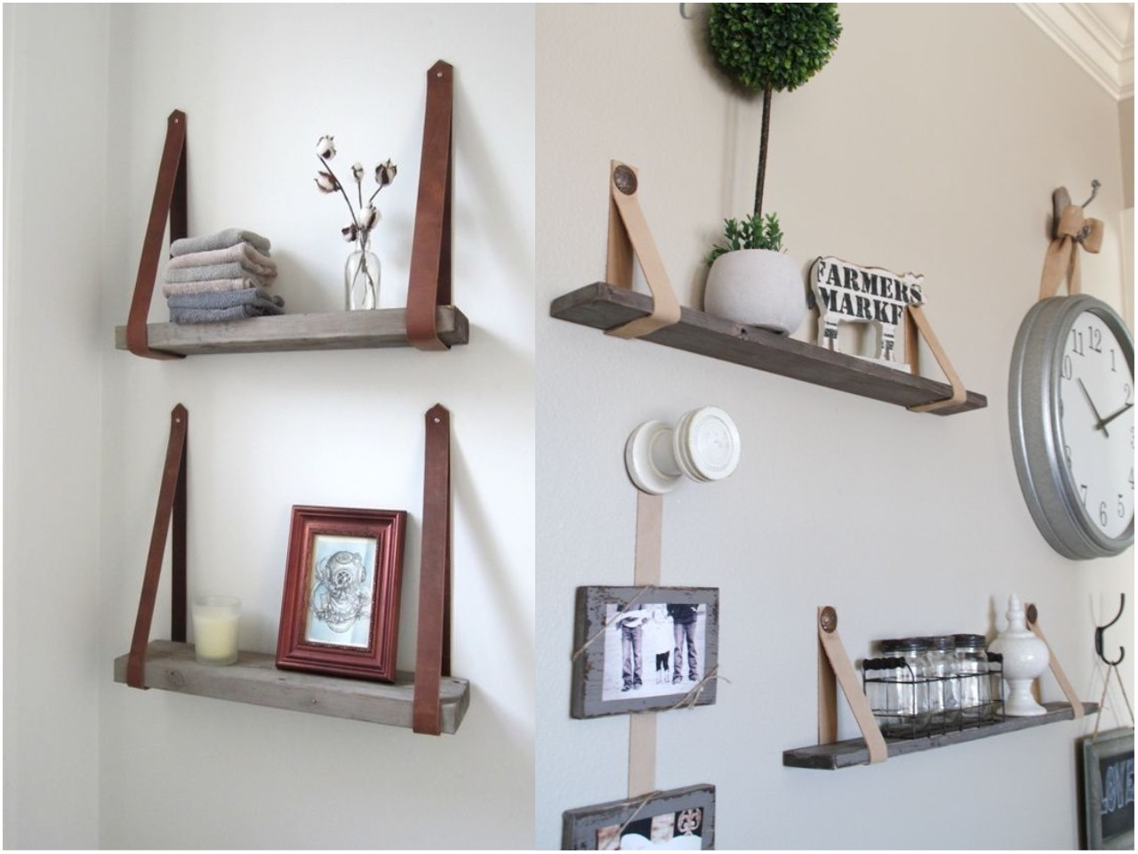 12 ideas para decorar con cinturones - Estanteria pared blanca ...