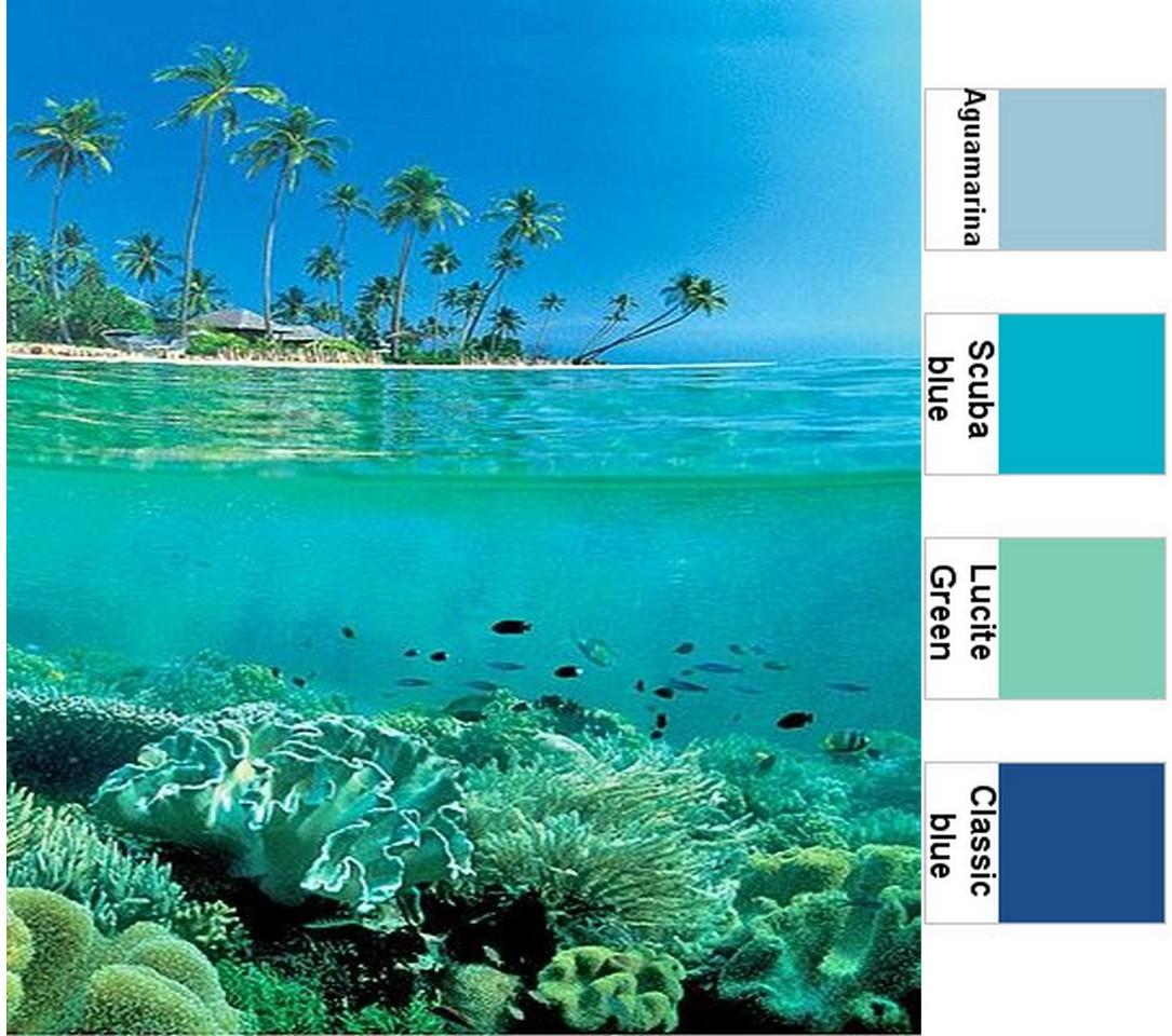 Decoraci n en color azul viaje a los mares del sur for Color agua marina pintura