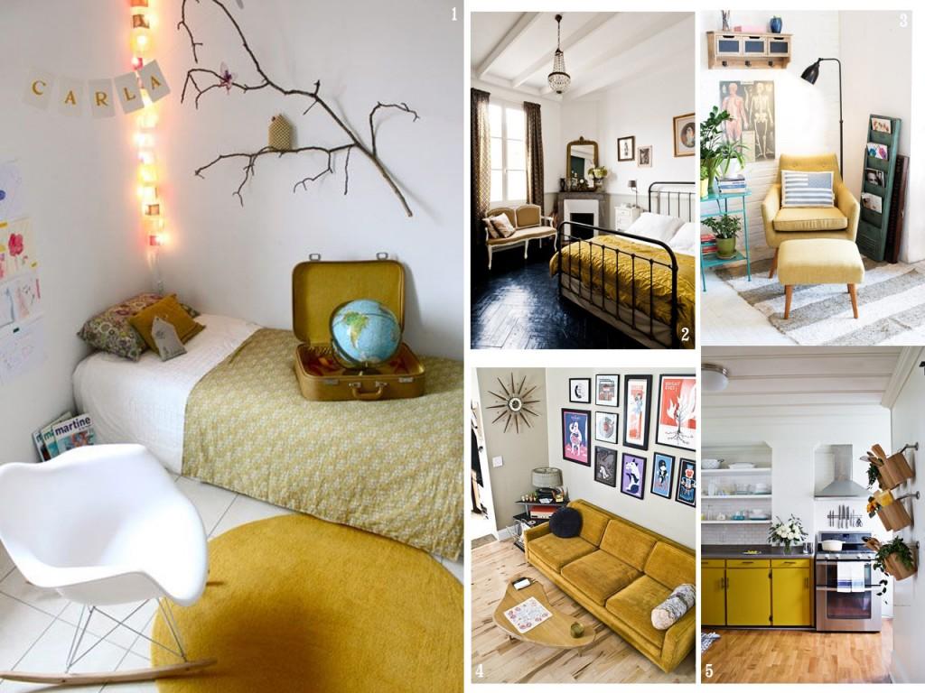 Atr vete con una decoraci n en color mostaza for Decoracion de interiores piso gris