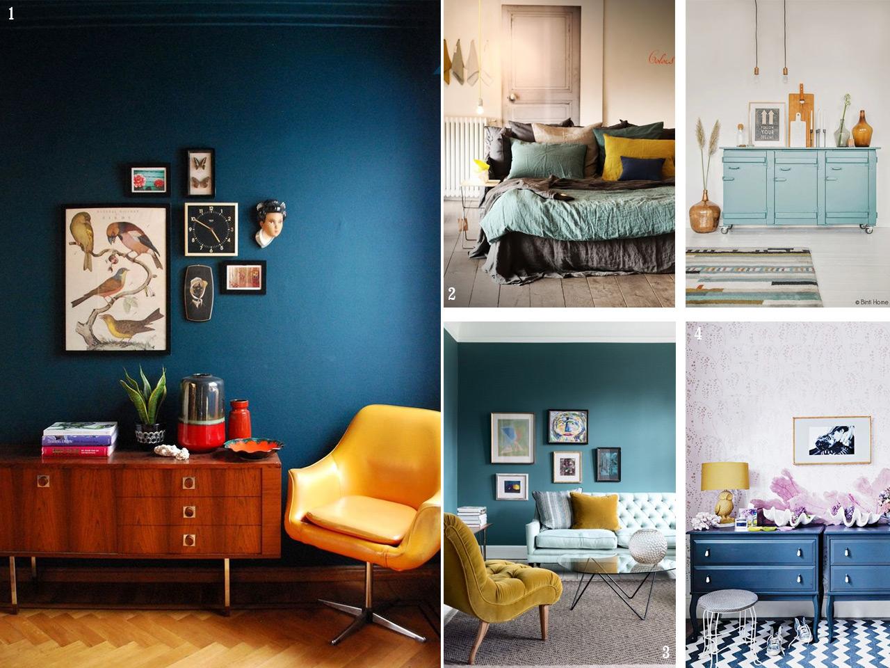 Atr vete con una decoraci n en color mostaza for Color azul grisaceo para paredes