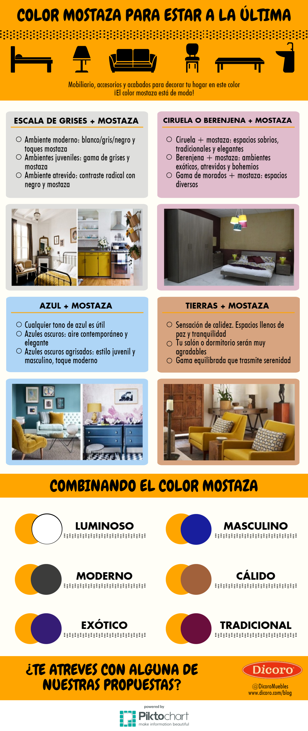 Infografía decoración en color mostaza