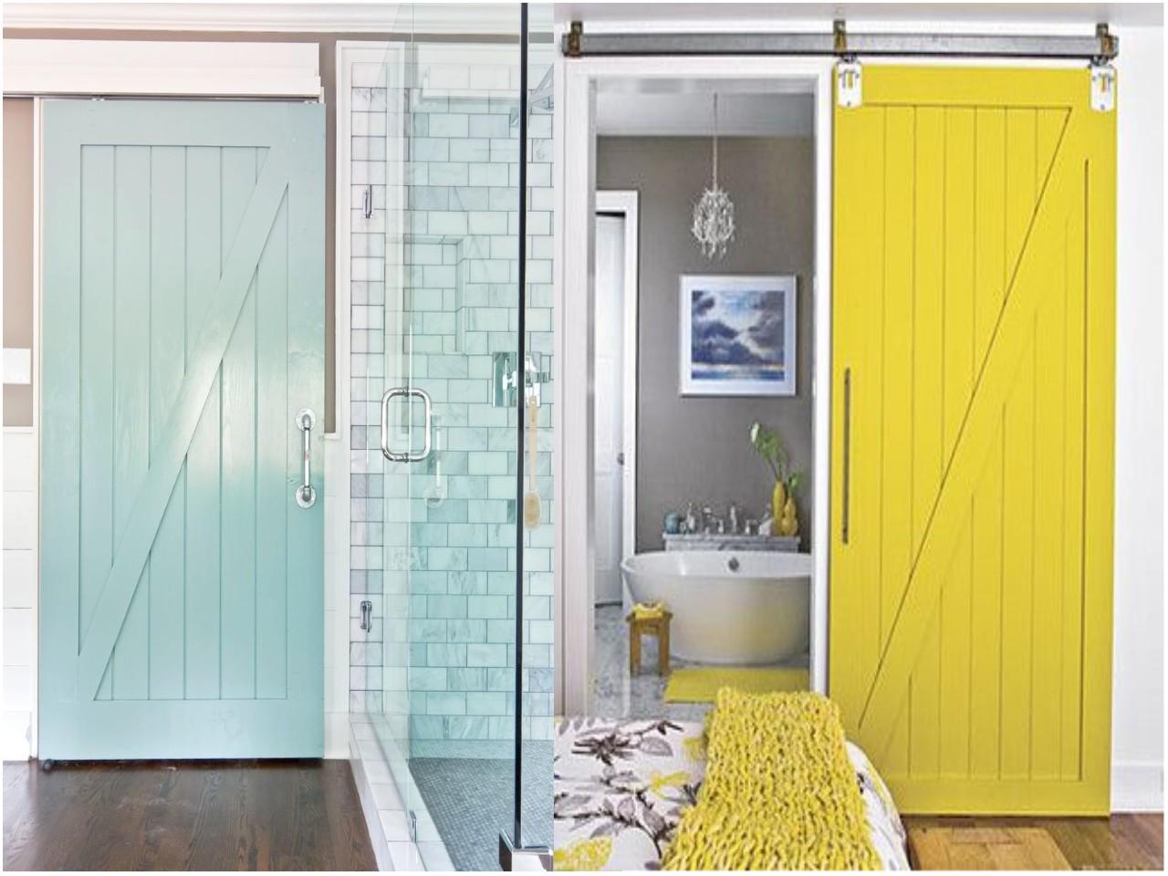 Ideas Para Puertas De Baño:Ideas para decorar baños: puertas correderas estilo granero
