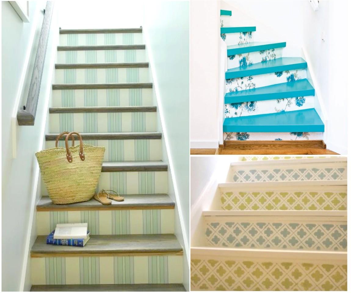 Decorar escaleras originales un paso m s en la decoraci n - Combinar pintura y papel pintado ...