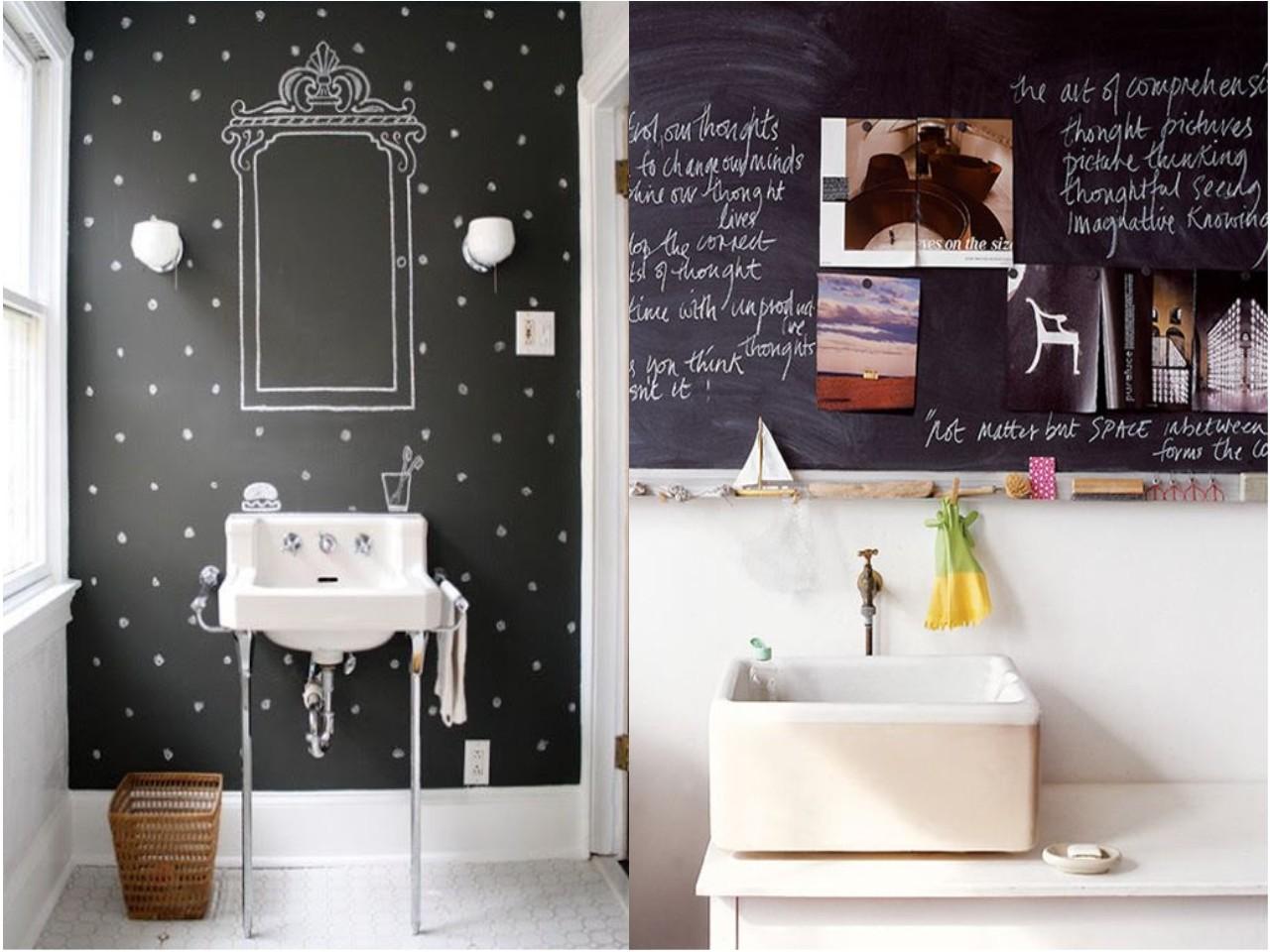 8 ideas trending para decorar ba os con estilo - Pizarra decoracion pared ...