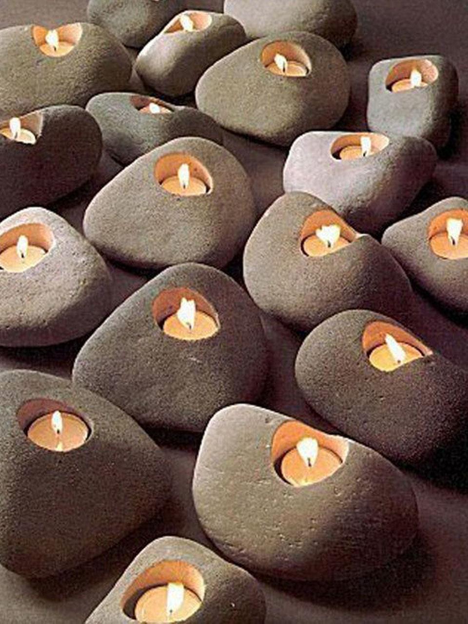 Подсвечники с камнями своими руками Декор из ракушек своими руками: зеркало, рамка, подсвечник
