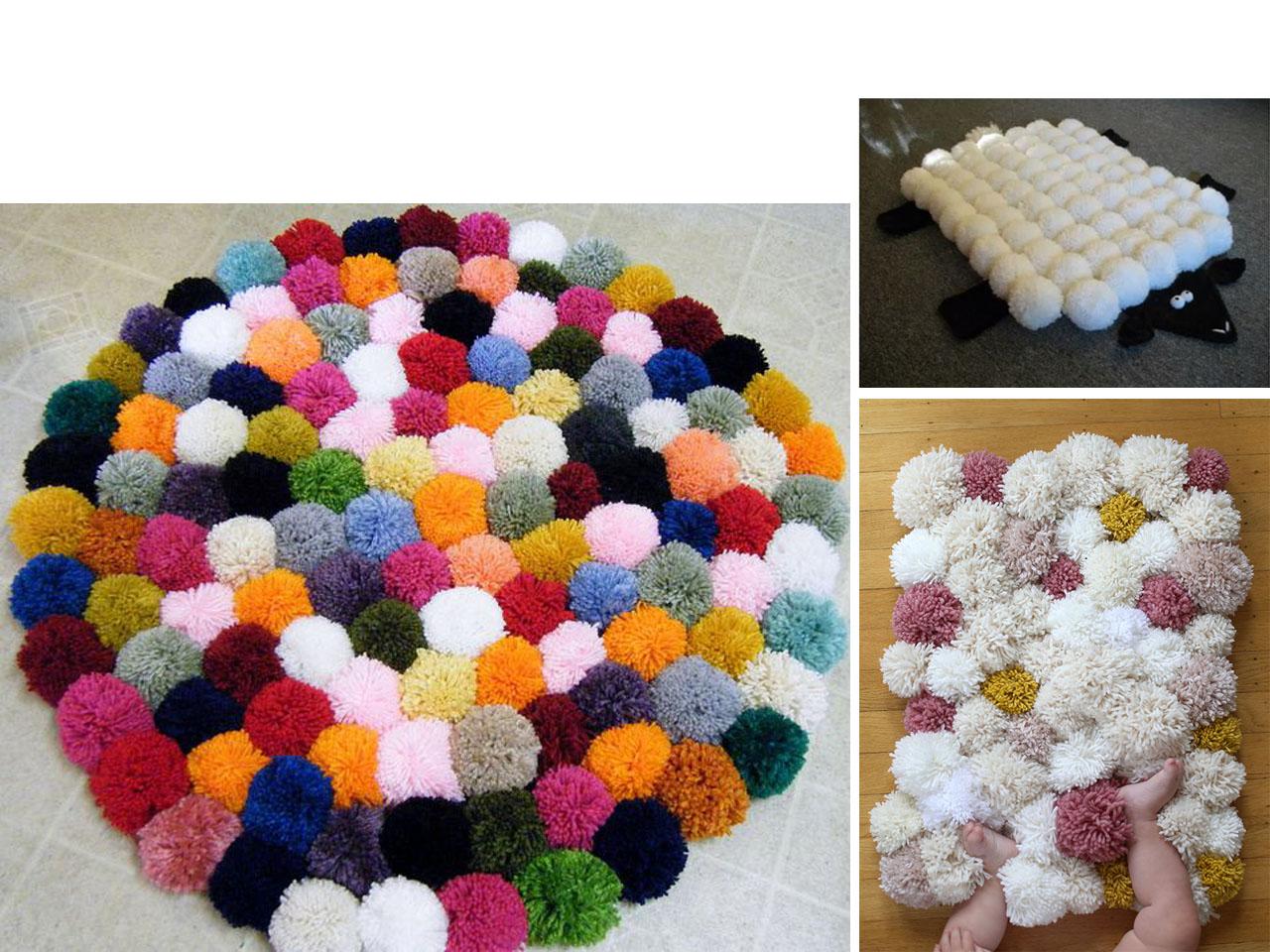 Alfombra de pompones de lana materiales de construcci n - Alfombra de pompones ...