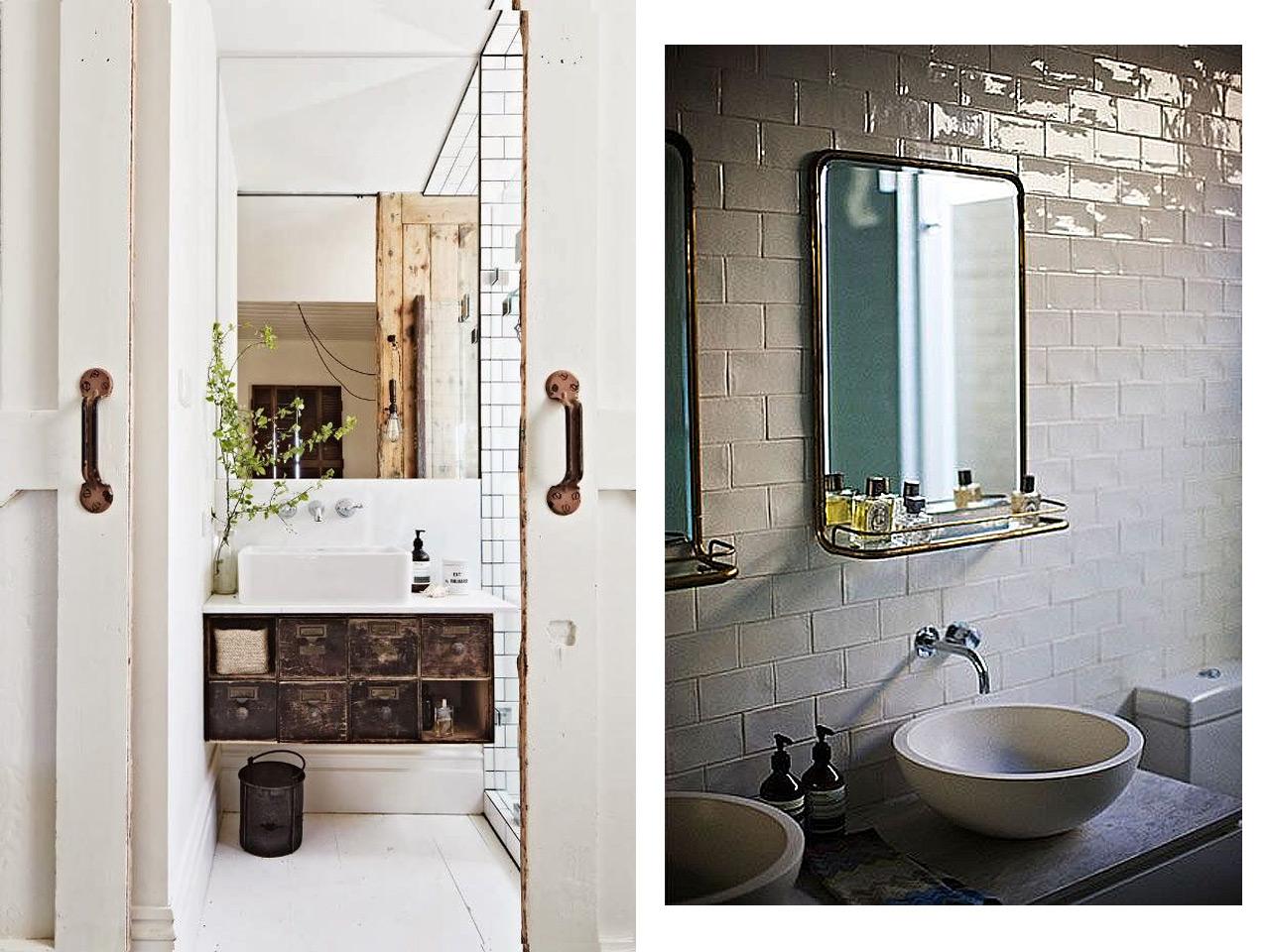 7 buenos y tiles consejos para ba os de estilo industrial for Espejos de pared vintage