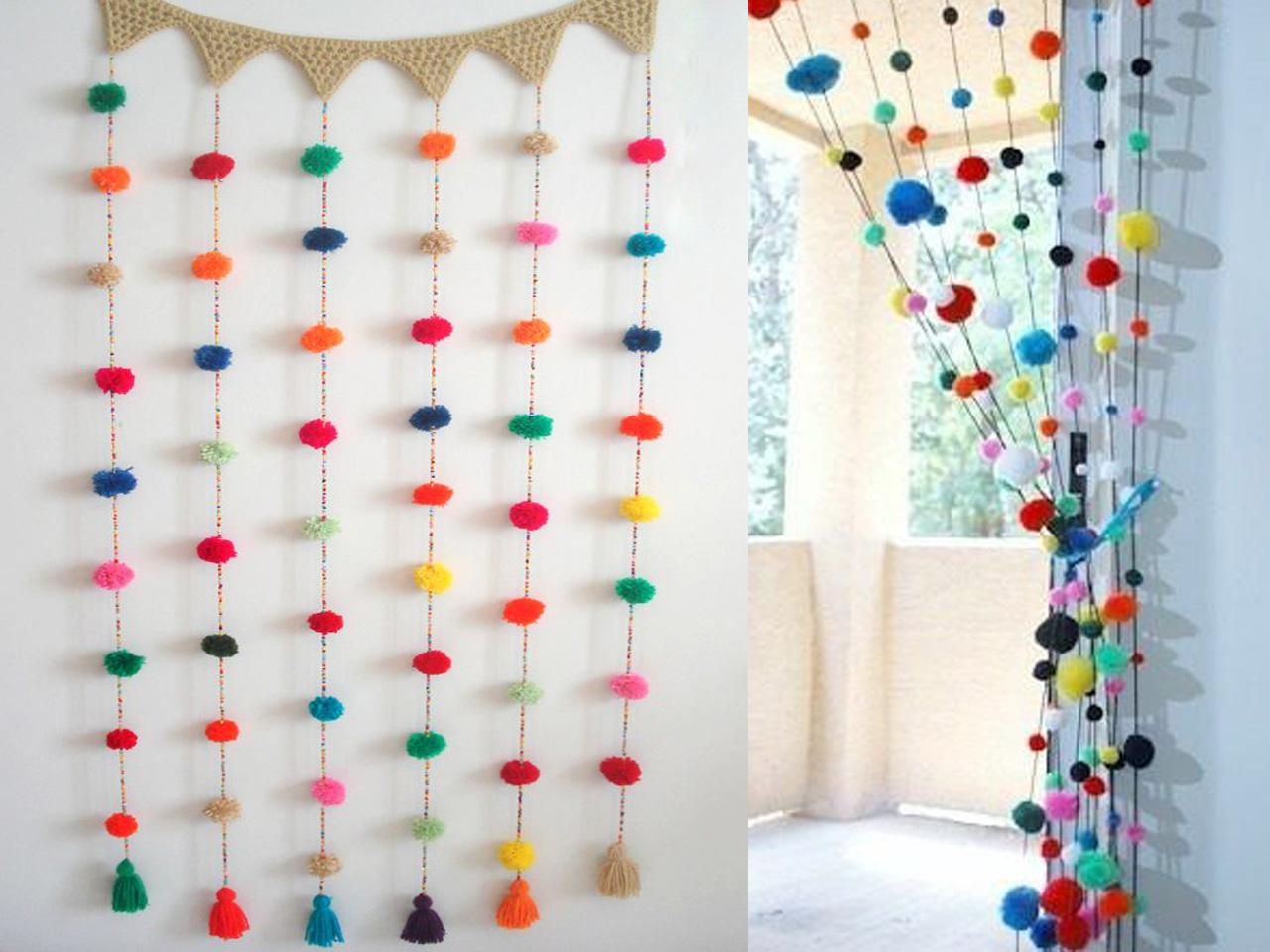 7 s per ideas para hacer pompones de lana para decorar for Decorar cortinas para dormitorio