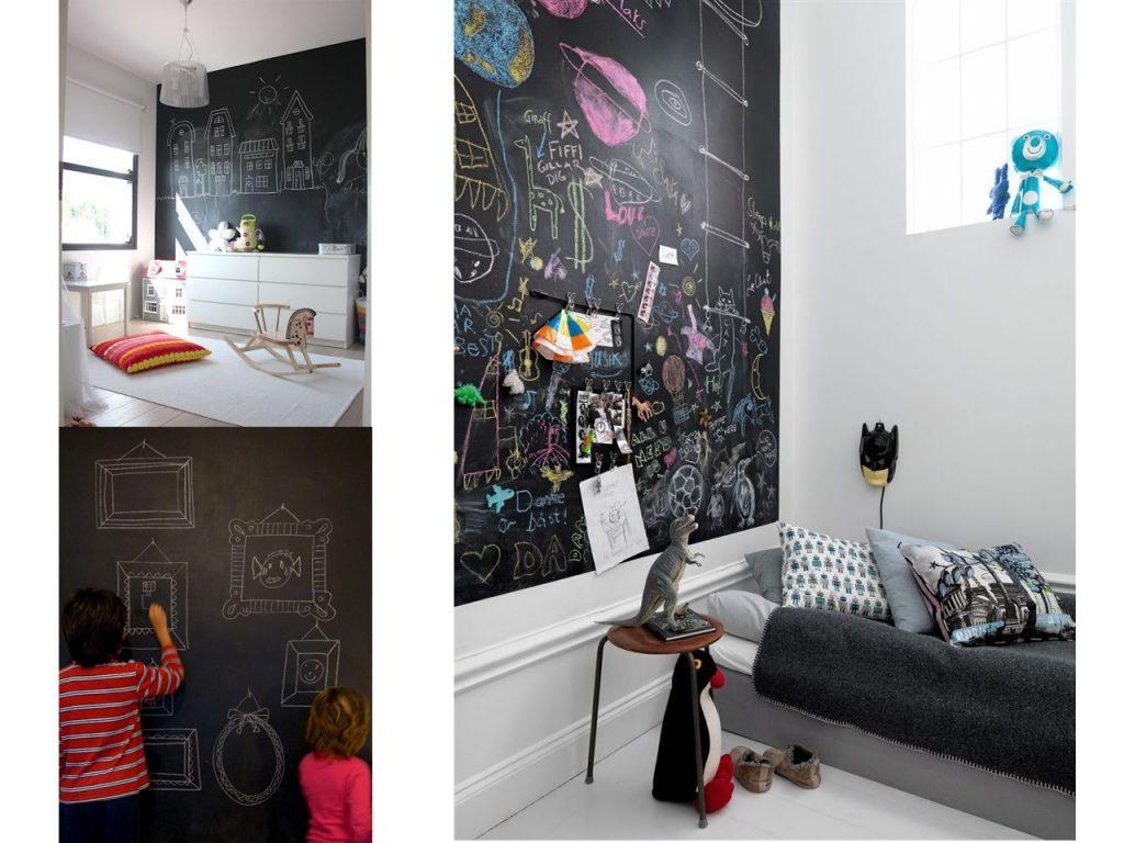 Creatividad y paredes originales para ni os - Pared pizarra ninos ...