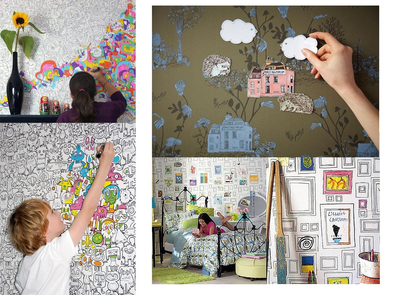 Creatividad y paredes originales para ni os - Pintura de pizarra para pared ...