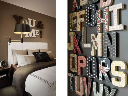 Letras tridimensionales para el hogar