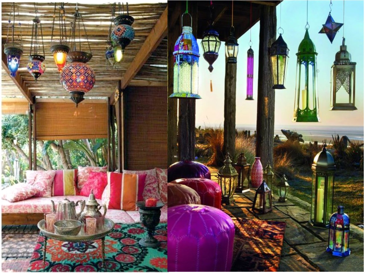 30 ideas para descubrir la decoraci n con luces de colores for Decoracion jardin oriental