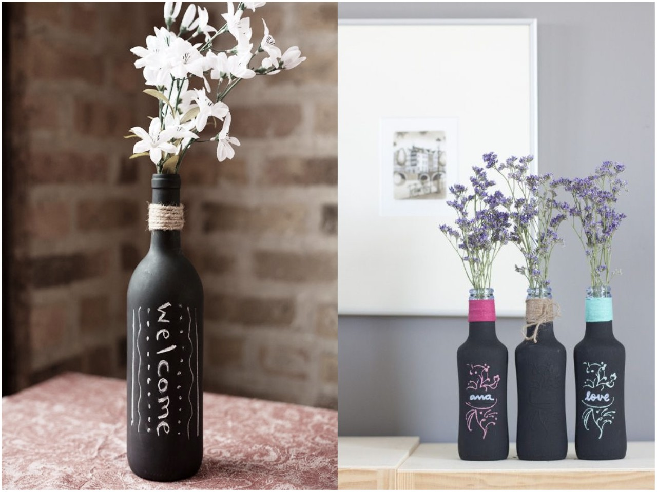 6 mejores y geniales ideas para reciclar botellas de vidrio for Vinilos para mesas de cristal
