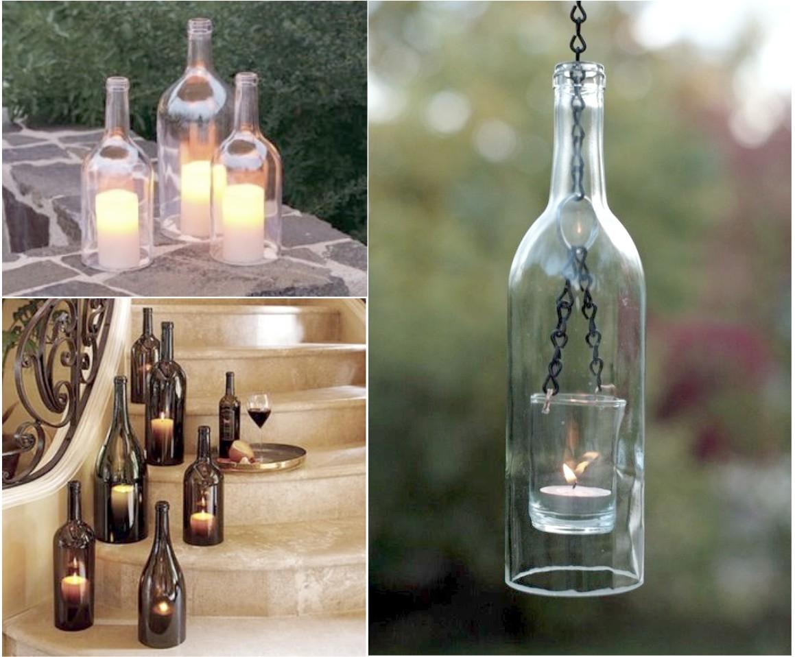 6 mejores y geniales ideas para reciclar botellas de vidrio - Botellas con velas ...