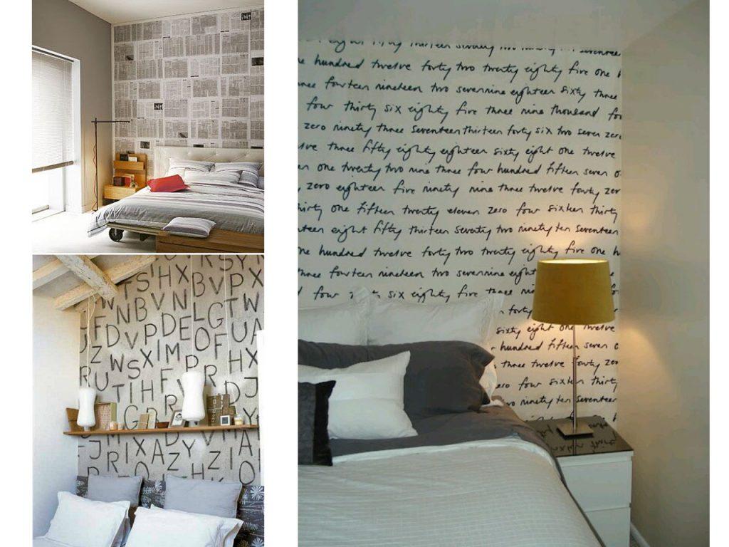 Decoraci n de cabeceros de cama para sorprender - Papel pintado letras para paredes ...