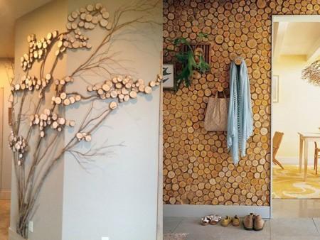 decoración con troncos de árboles en paredes