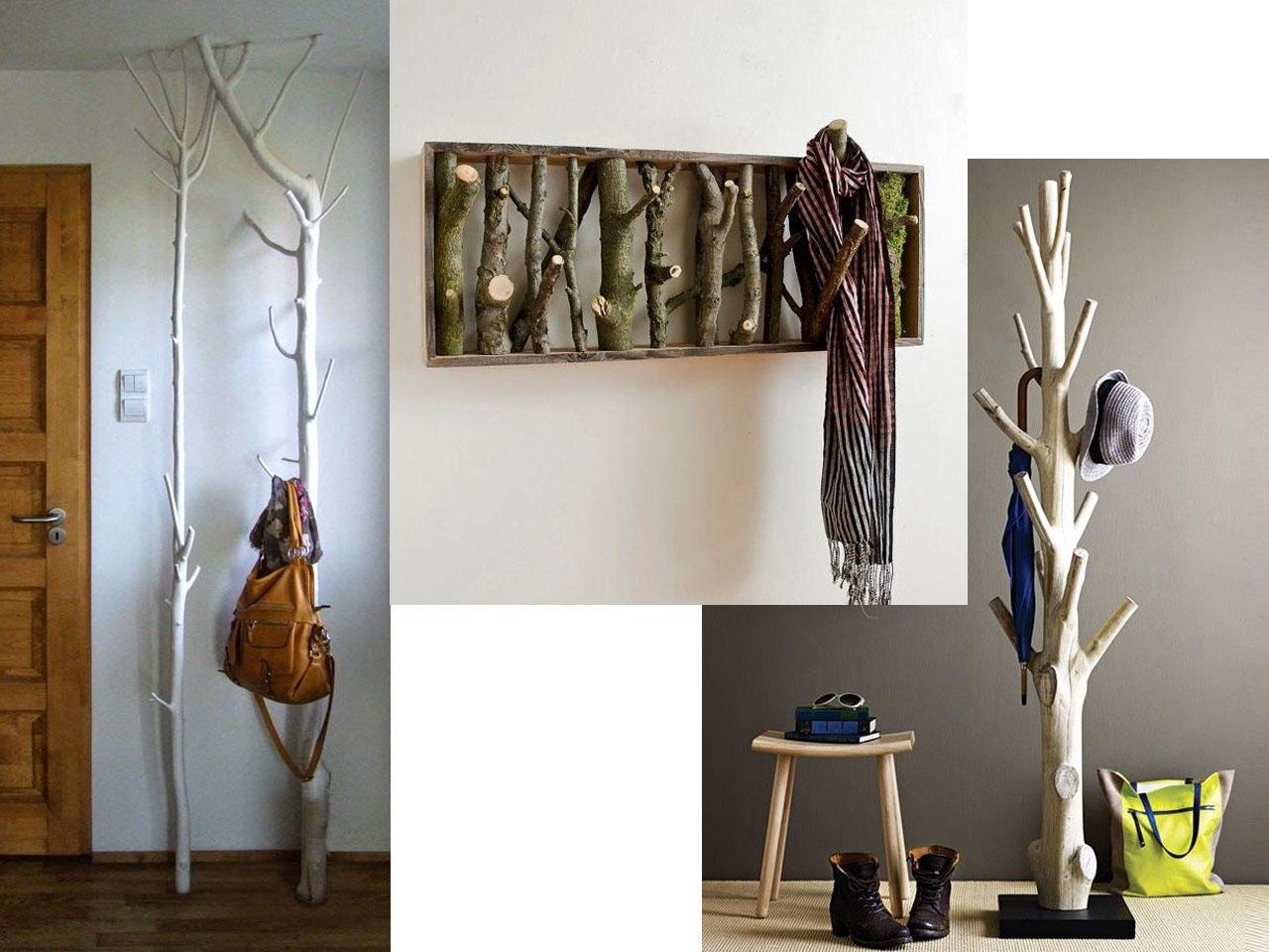 15 ideas molonas y r sticas de decoraci n con troncos de - Percheros rusticos de pared ...