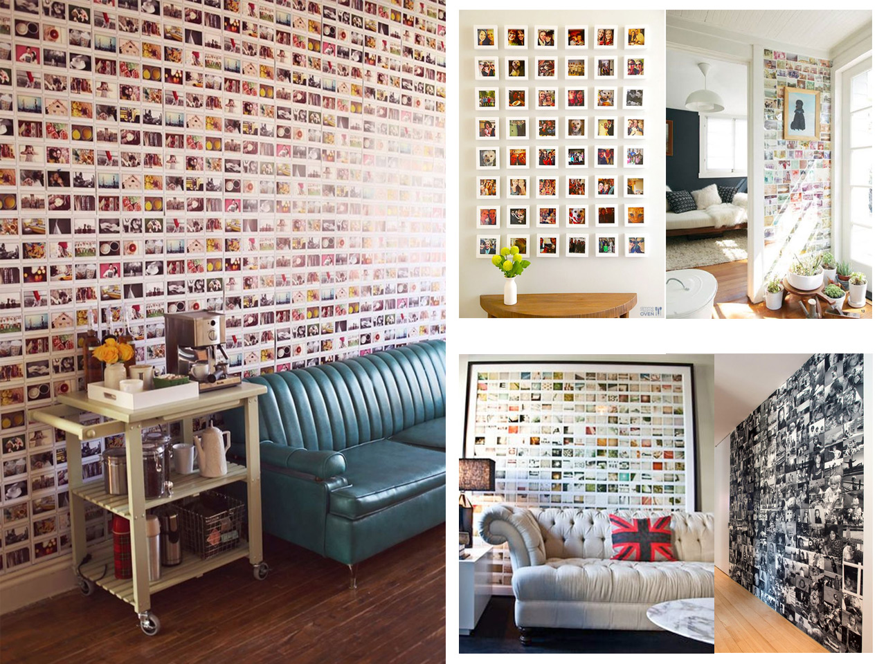 60 brillantes ideas para decorar con fotos familiares - Como poner fotos en la pared ...