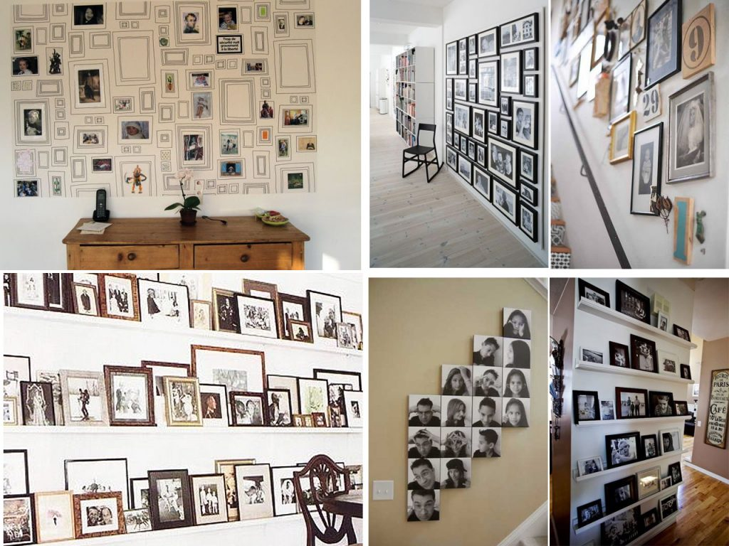 60 brillantes ideas para decorar con fotos familiares for Adornos para paredes de escaleras
