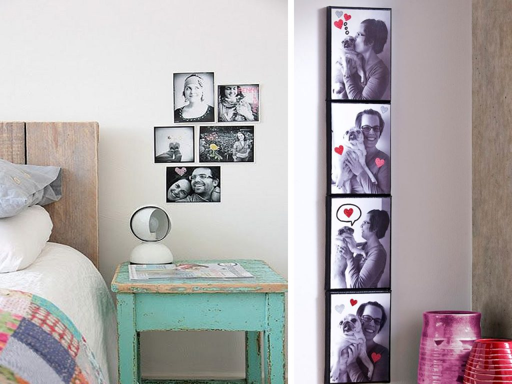 60 brillantes ideas para decorar con fotos familiares for Adornos de dormitorios reciclados