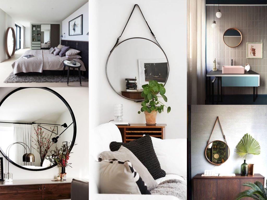 cómo decorar con espejos redondos