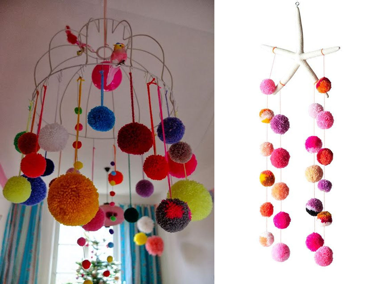 12 manualidades con pompones para fiestas - Manualidades con lanas de colores ...