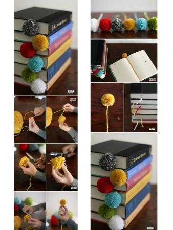 punto de libro con pompones