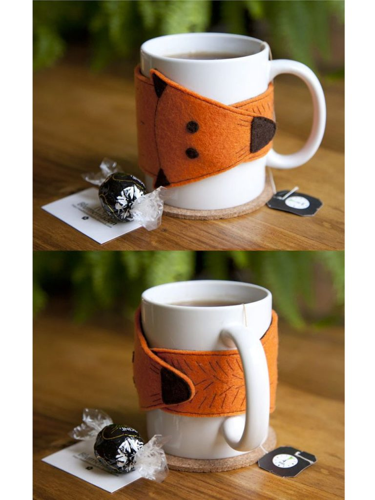 decorar tazas de café con fieltro