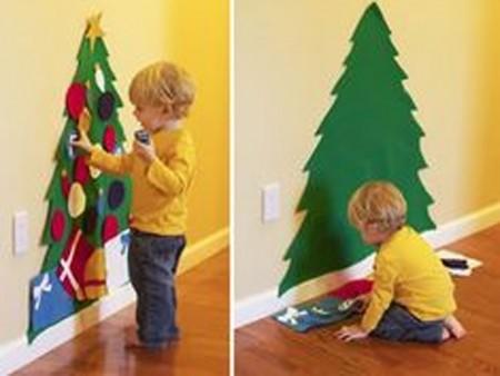 decoración de navidad de paredes con fieltro