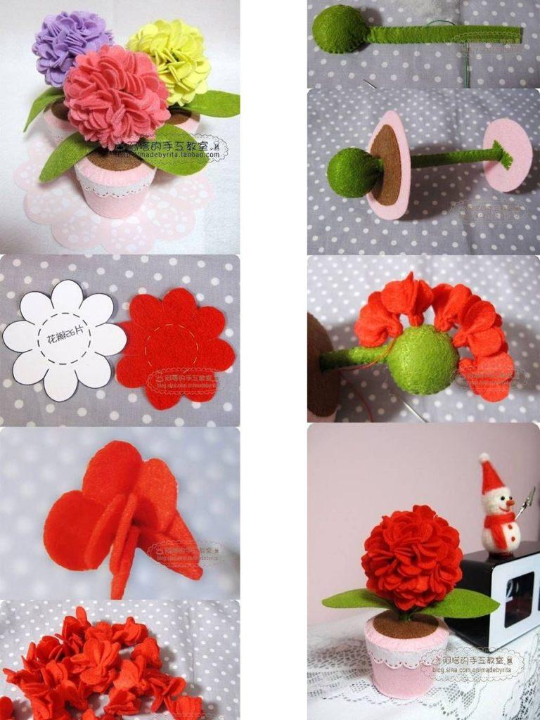 flores con fieltro