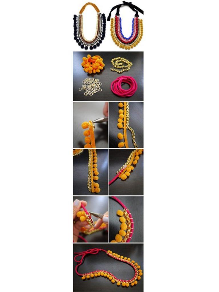 cómo hacer un collar con pompones