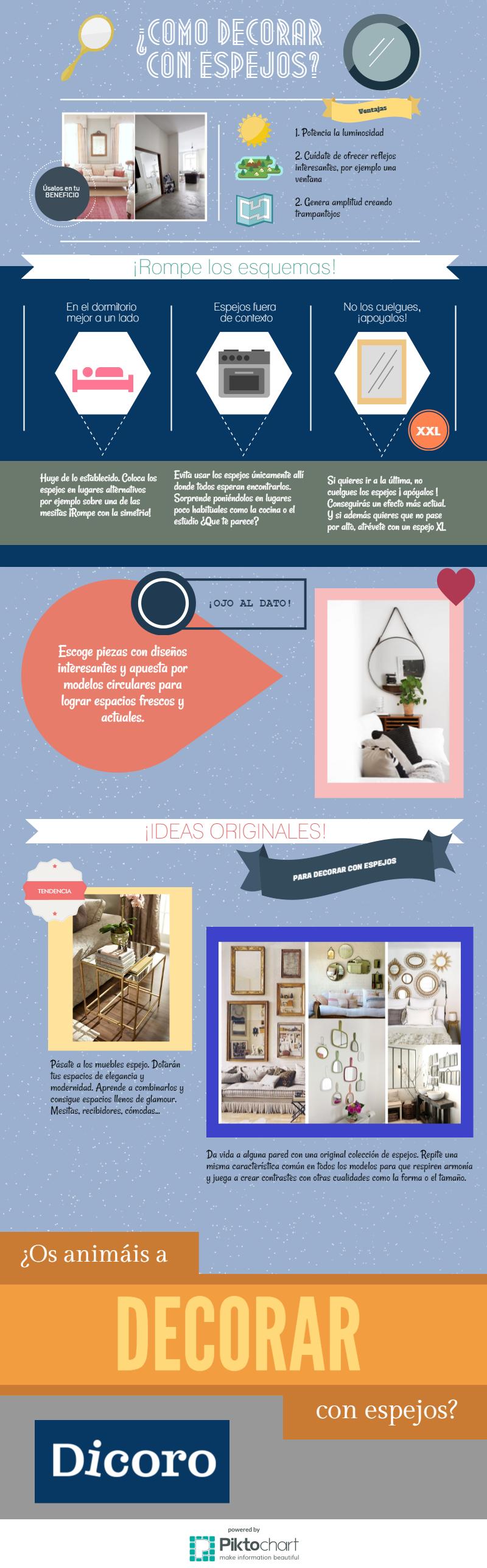 cómo decorar con espejos - Infografía Dicoro