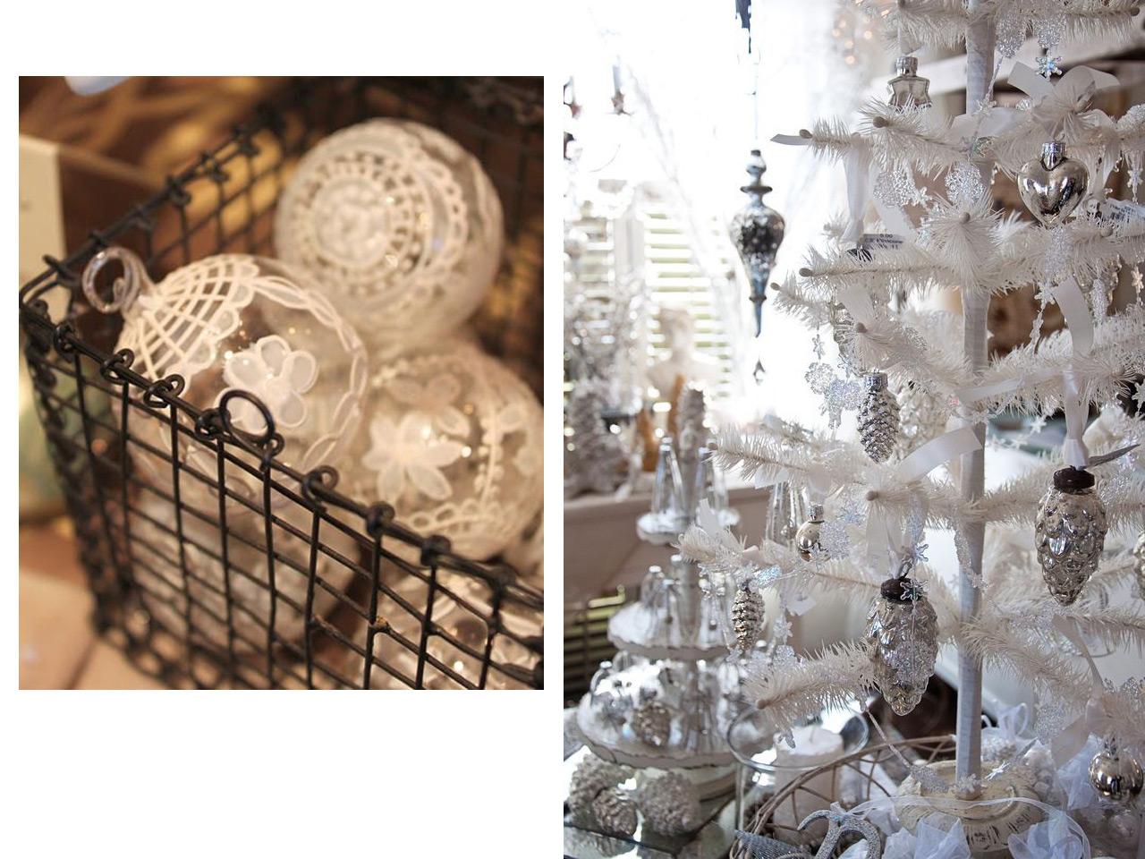decoracin navidea vintage en blanco
