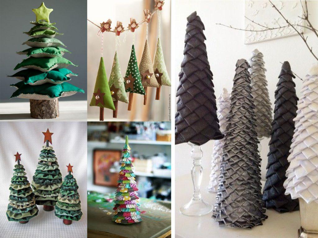 arboles de navidad con telas