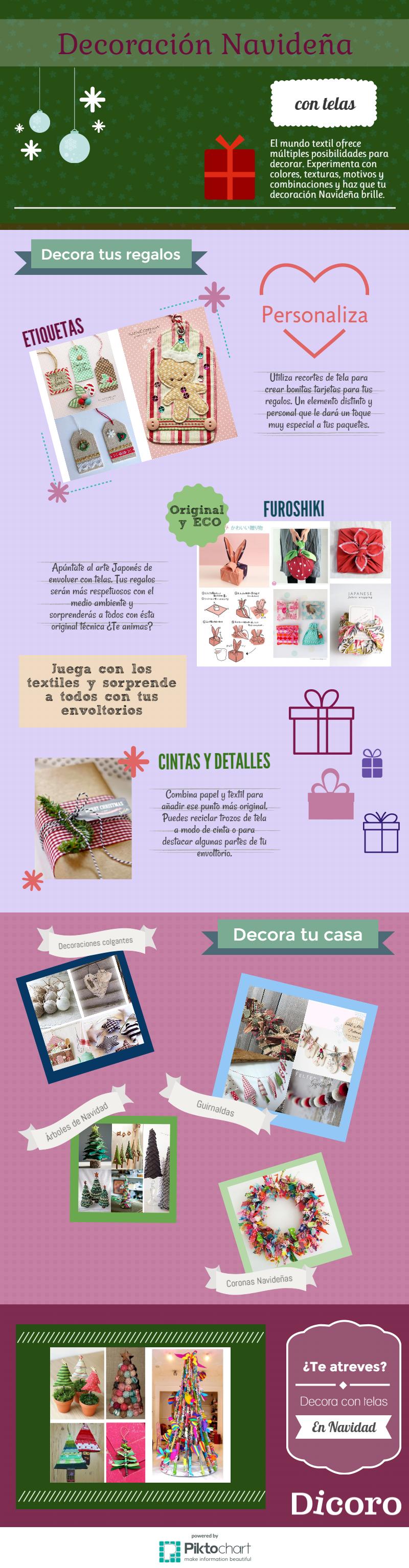 decoracion navideña con telas - infografía Dicoro