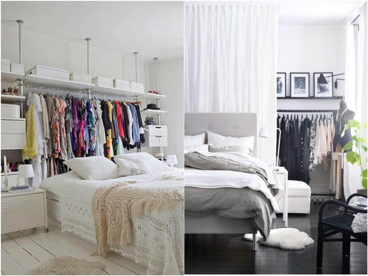 Las 15 mejores ideas para un dormitorio con vestidor abierto - Cortinas para cama ...