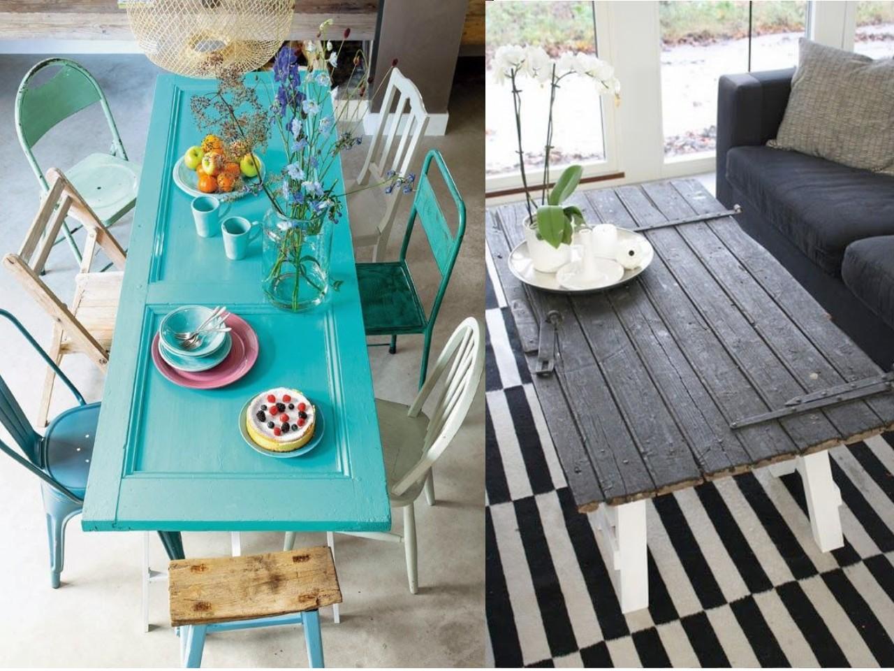9 incre bles propuestas de decoraci n con madera reciclada for Mesas hechas con puertas antiguas