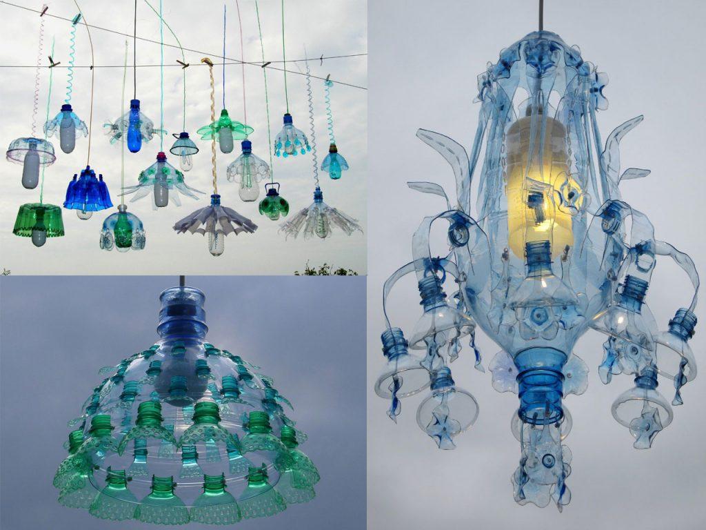 lámparas colgantes originales hechas con botellas