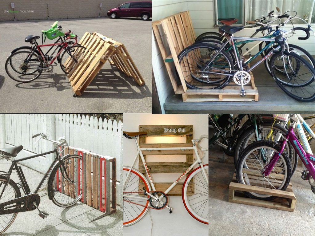 parking de bicicletas con palets